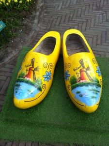 Giant wooden shoes decorated with windmills