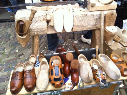 Wooden shoemaker's workbench and tools
