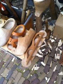 Wooden roller skate clog or more accurately, skeeler clog.