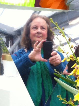Tourist trying to take 'artistic' selfie in facetted mirror. I admit, it's a certain Integrated Expat.