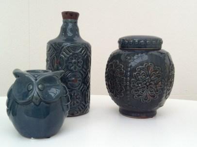 Dark blue textured bottle, jar and owl pottery