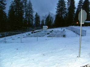 Snow covers the completed wastewater treatment system
