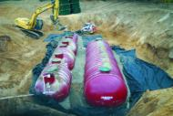 Tanks installed in excavation