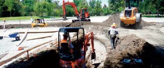 Site work in constructed wetlands treatment area