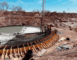 Pouring base of 60 ft diameter clarifier