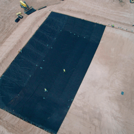 Installing liner on Equalization Basin