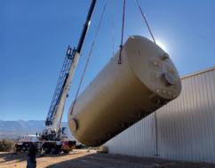45,000 gallon effluent storage tank being set