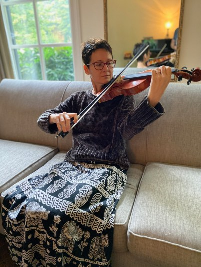 Dr. Ginger Garner on violin - Lumpectomy Recovery