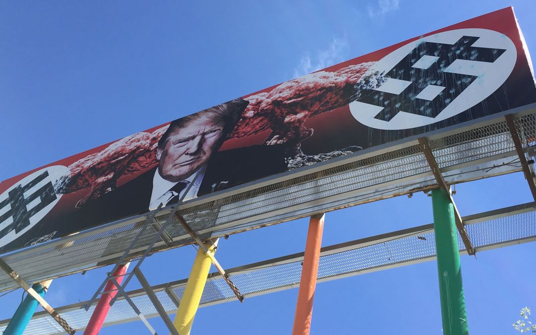 Anti-Donald Trump billboard vandalized in downtown Phoenix