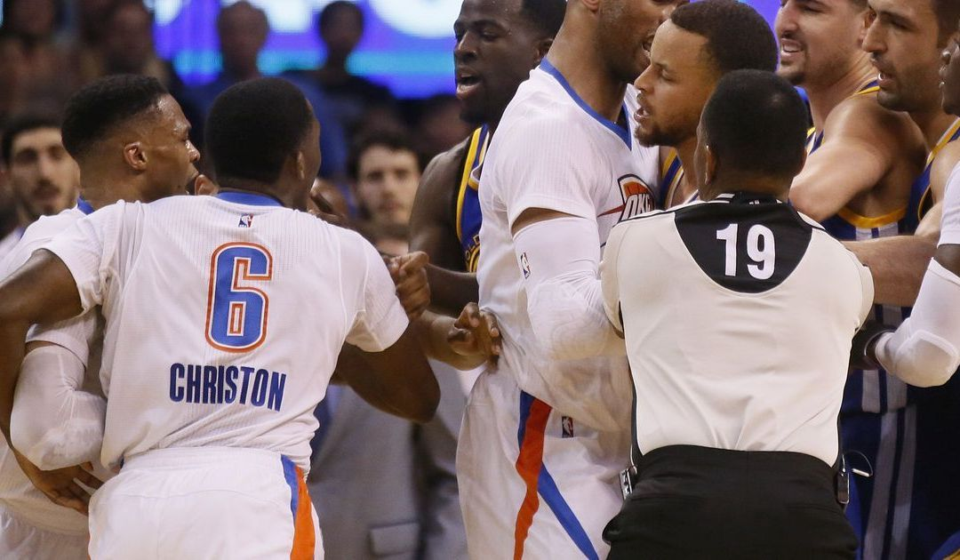 Curry and Westbrook get technical fouls as Warriors and Thunder scuffle