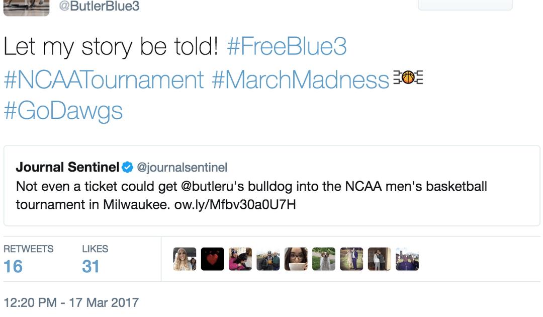 Butler mascot not allowed inside tourney again