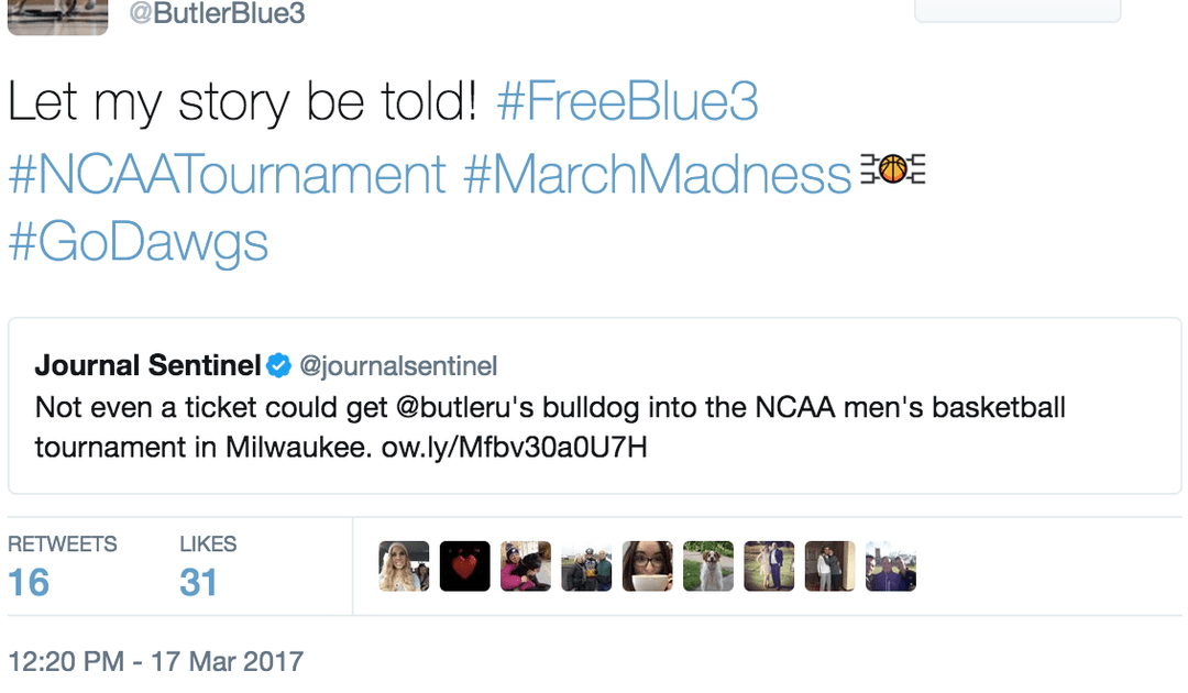 Butler mascot not allowed inside tourney again