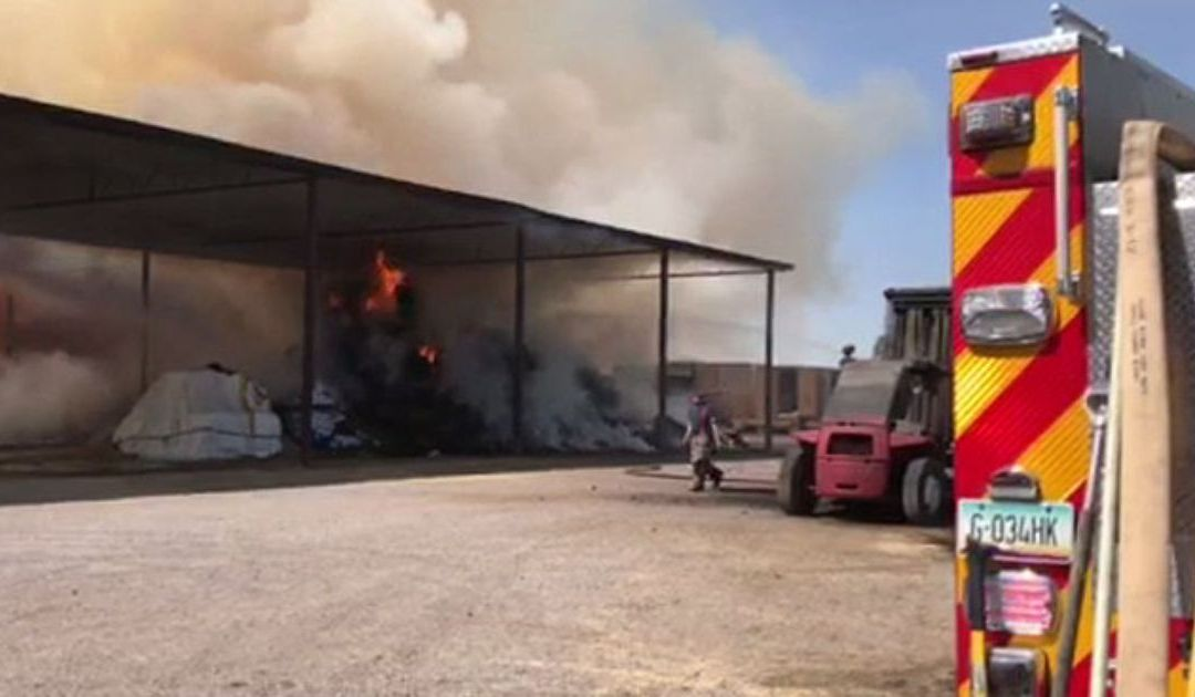 Hay fire sends up smoke plume from Laveen