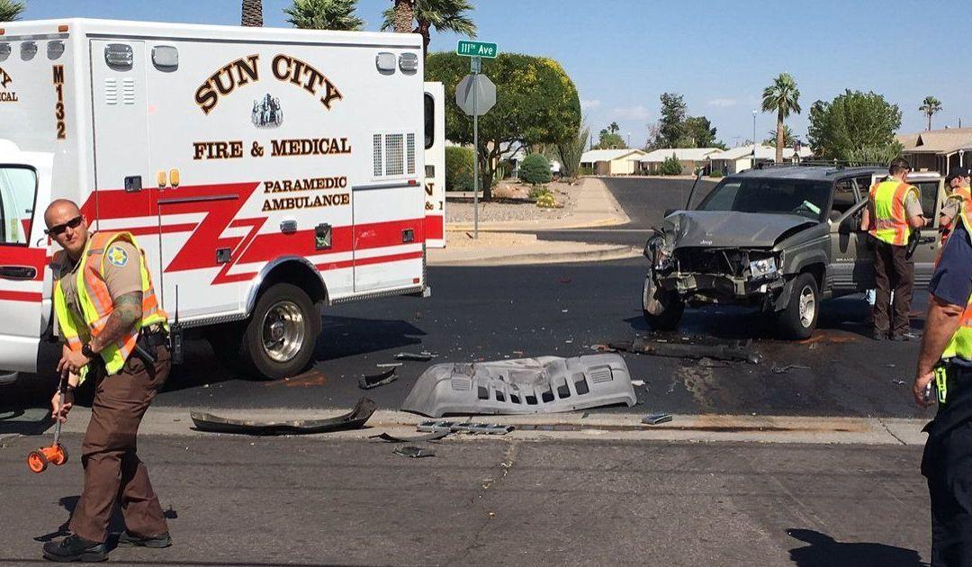 2 firefighters hurt when SUV hit ambulance in Sun City