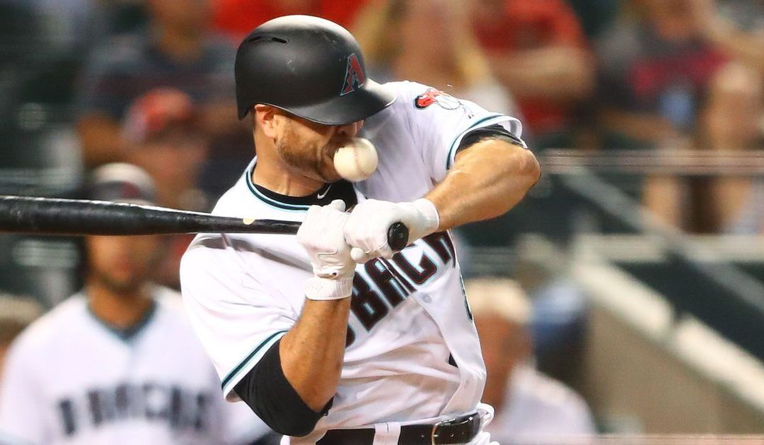 D-Backs' Chris Iannetta hit in face by pitch