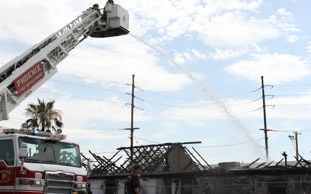Vacant building goes up in flames