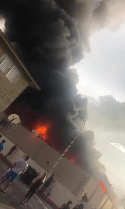 View of smoke and flames from Safeway fire on July 11, 2018