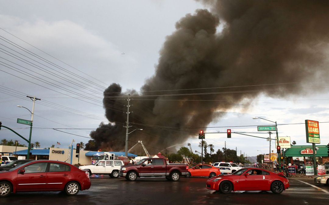 Safeway store on fire in Phoenix, possible roof collapse