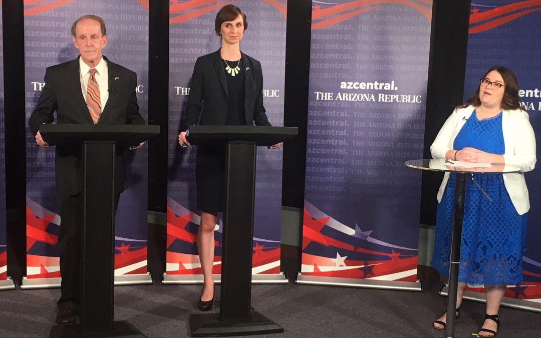 Arizona superintendent candidates Frank Riggs, Kathy Hoffman debate