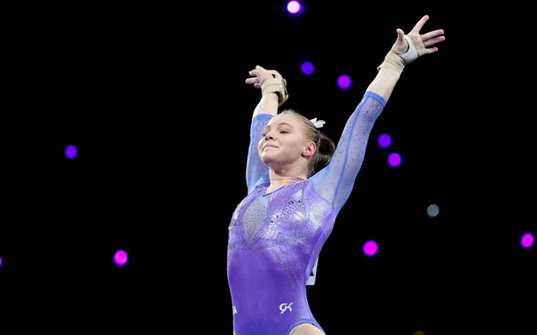 Jade Carey wraps up Melbourne World Cup with floor exercise win