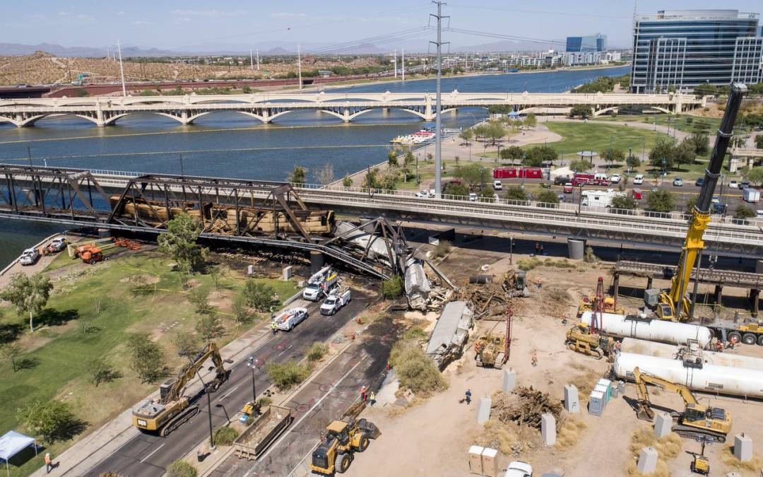 Portion Tempe bridge damaged in derailment to be detonated on Sunday