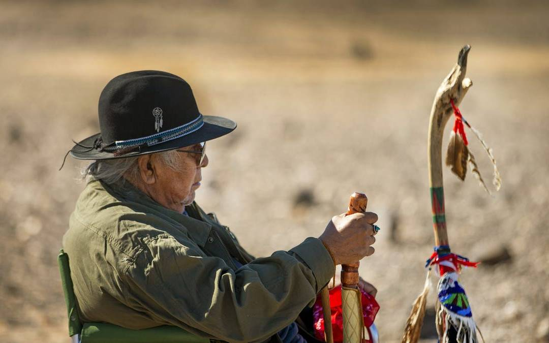 Quechan Tribe members share stories, sing songs on BLM land at Indian Pass in California
