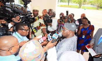 Former President Olusegun Obasanjo address the press after his meeting with President Muhammadu Buhari at the State House in Abuja.