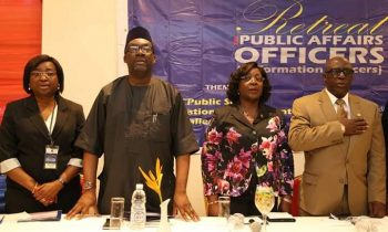 Permanent Secretary, Ministry of Information and Strategy, Mr. Fola Adeyemi; Head of Service, Lagos State Civil Service, Mrs. Olabowale Ademola; Lagos State Commissioner for Information and Strategy, Mr. Steve Ayorinde and Director, Public Affairs Department, Mrs. Toro Oladapo during the maiden retreat for Lagos State Public Affairs Officers at the Golden Tulip Hotel, Festac, Lagos