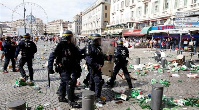 With up to 90,000 fans expected to fill Marseille on Saturday, authorities were working to control the crowd [EPA]