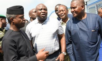 Lagos State Governor, Akinwunmi Ambode (middle), discussing with the Vice President, Prof. Yemi Osinbajo (left) and President, Dangote Group; Alhaji Aliko Dangote (right) during the Vice President's inspection visit to the Dangote Refinery at the Lekki Free Trade Zone, Lagos, on Saturday,