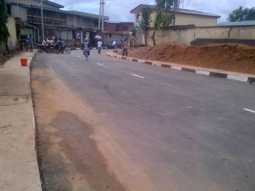 Poorly constructed Kalejaye/Sunday Sholola Road in Lagos.