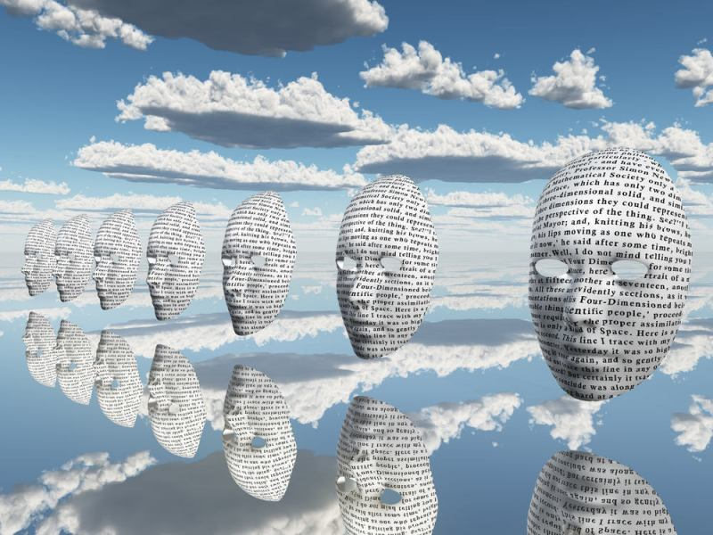 masks with text in sky with clouds