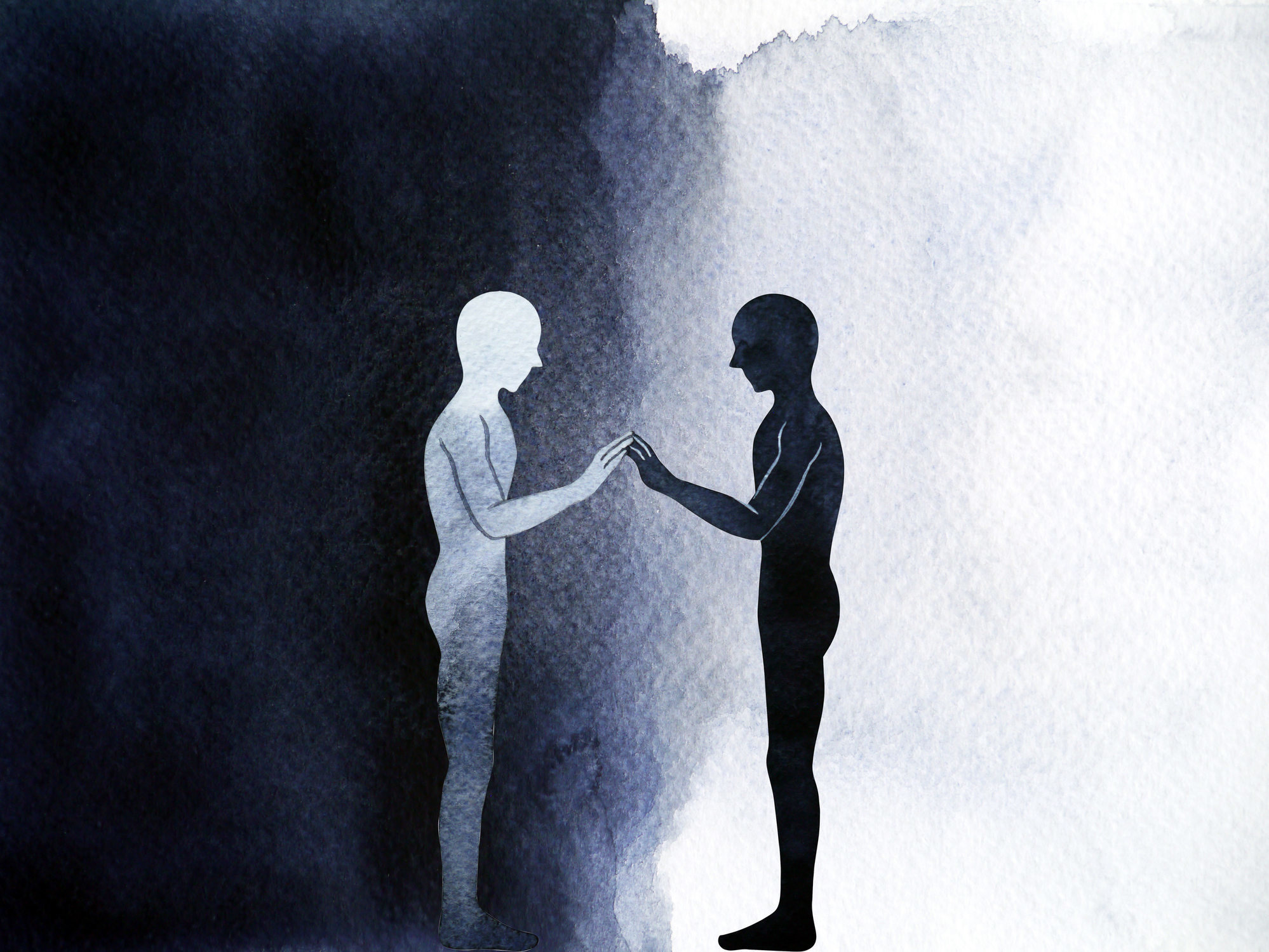 A black and white shadow facing each other and touching hands together