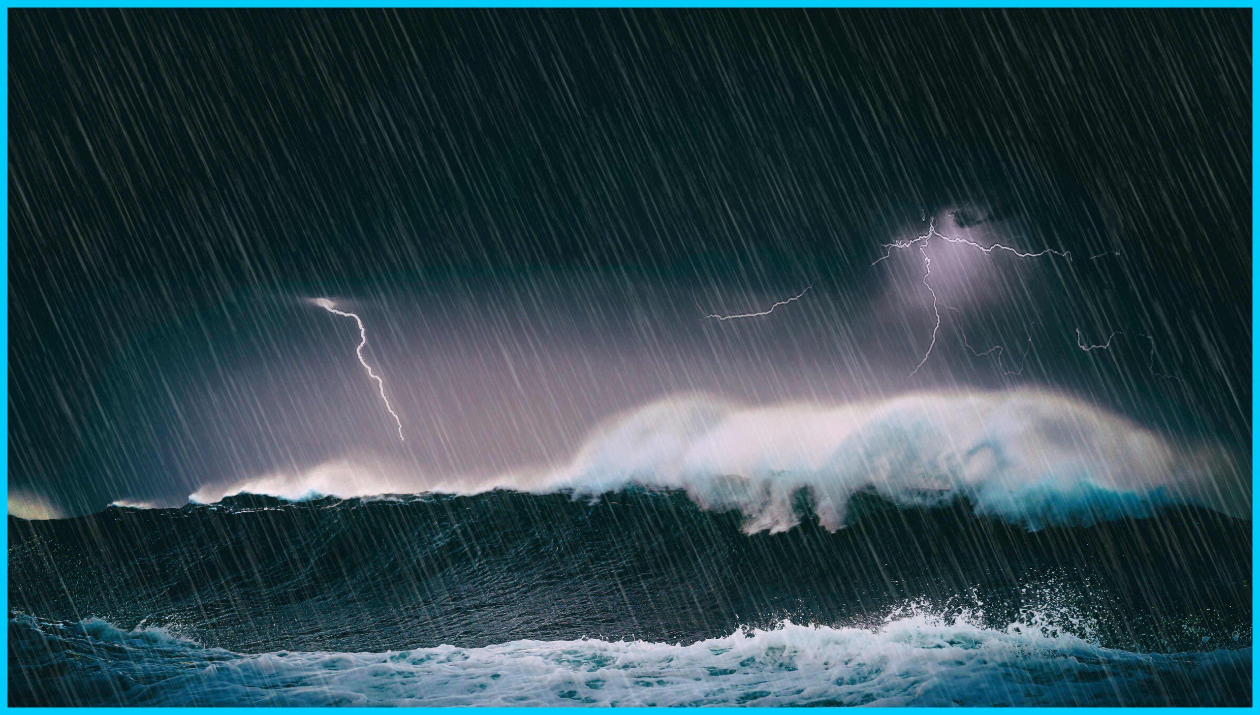 Stormy seas, dark skies, rain and lightening