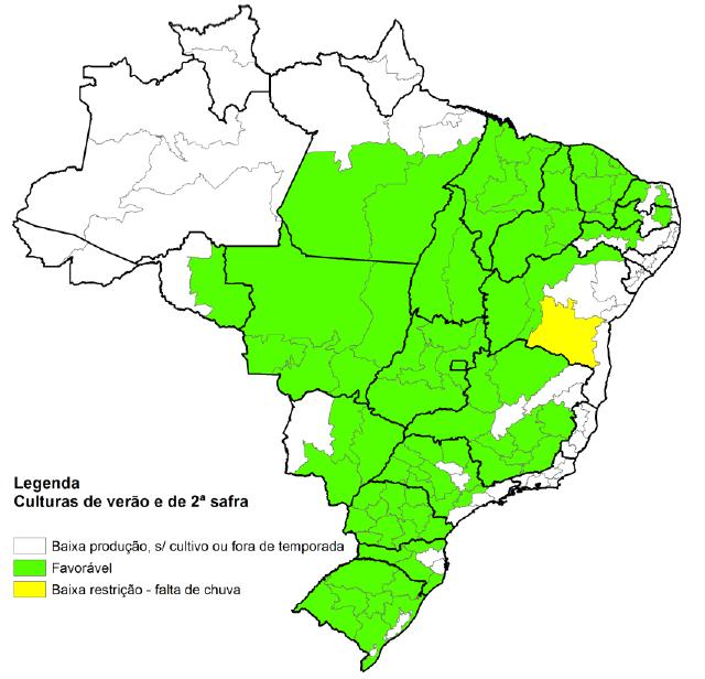 Condição hídrica geral nos principais estados produtores do Brasil.