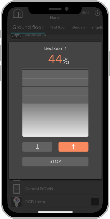 iphone KNX visualizace zaluzie