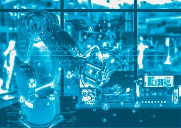 concepto de fabrica y maquinaria digital