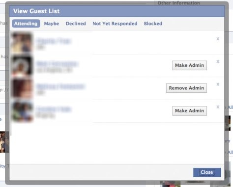 Facebook - Event Guest List Light Box