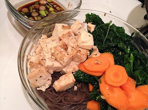 Soba Noodles with Ginger-Garlic Tofu, Carrots, & Kale
