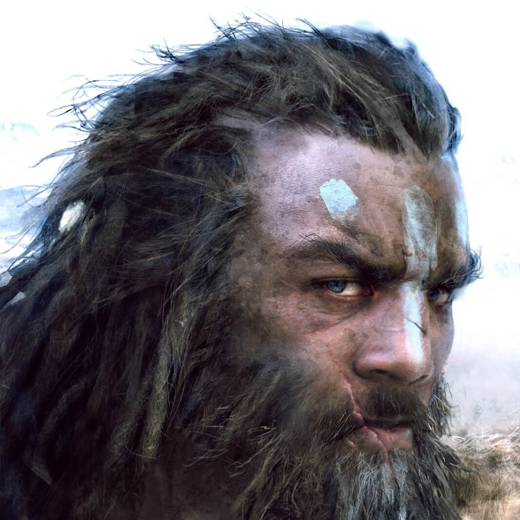 An image of a tribal caveman-like person with blue face-paint.