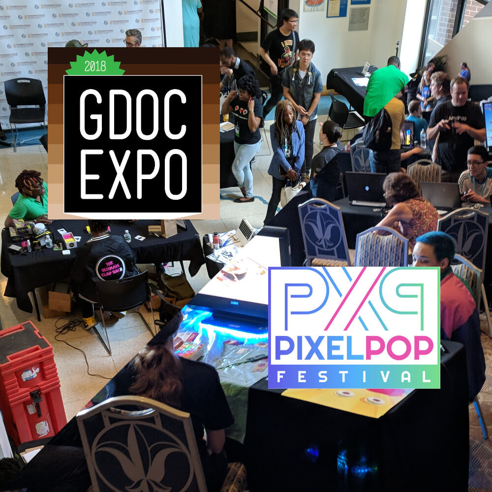 "A square image, divided diagonally through the middle: the upper-half shows a crowd from Game Devs of Color Expo, along with a square logo that reads ""2018 GDOC Expo."" The bottom-half shows a crowd from PixelPop Festival, alongside a white, rectangular logo reading ""PixelPop Festival."""