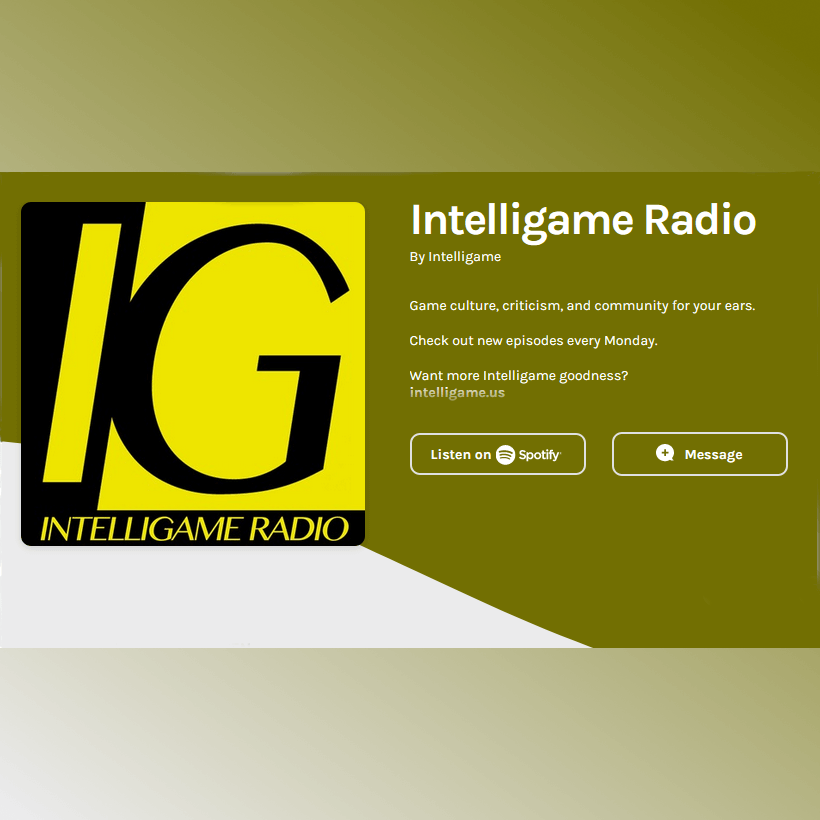"A splash page for the Intelligame Radio podcast, featuring a large black-and-yellow square with the letters ""IG"" in capitals."