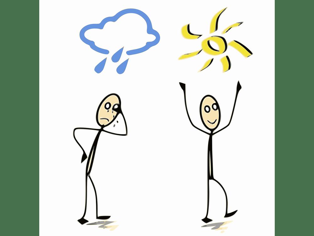 Zwei einfach gezeichnete Männchen, eines steht unter einer Regenwolke und ist traurig, das andere freut sich über die Sonne.