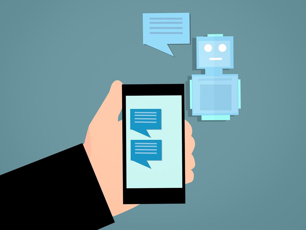 Chatverlauf auf Smartphone, der Chatbot antwortet
