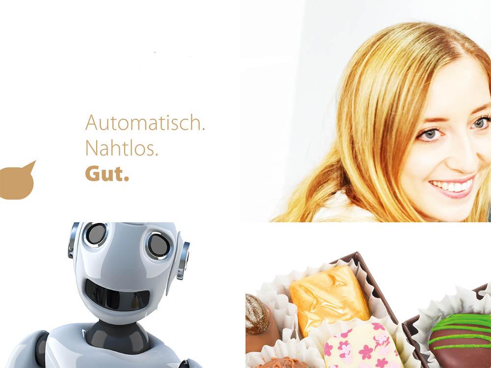 Kollage mit Titel, lächelnder Frau, lachendem Bot und Pralinen.