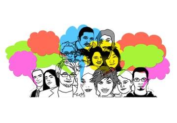 Gezeichnete Gesichter von Männern und Frauen mit bunten Sprechblasen darüber