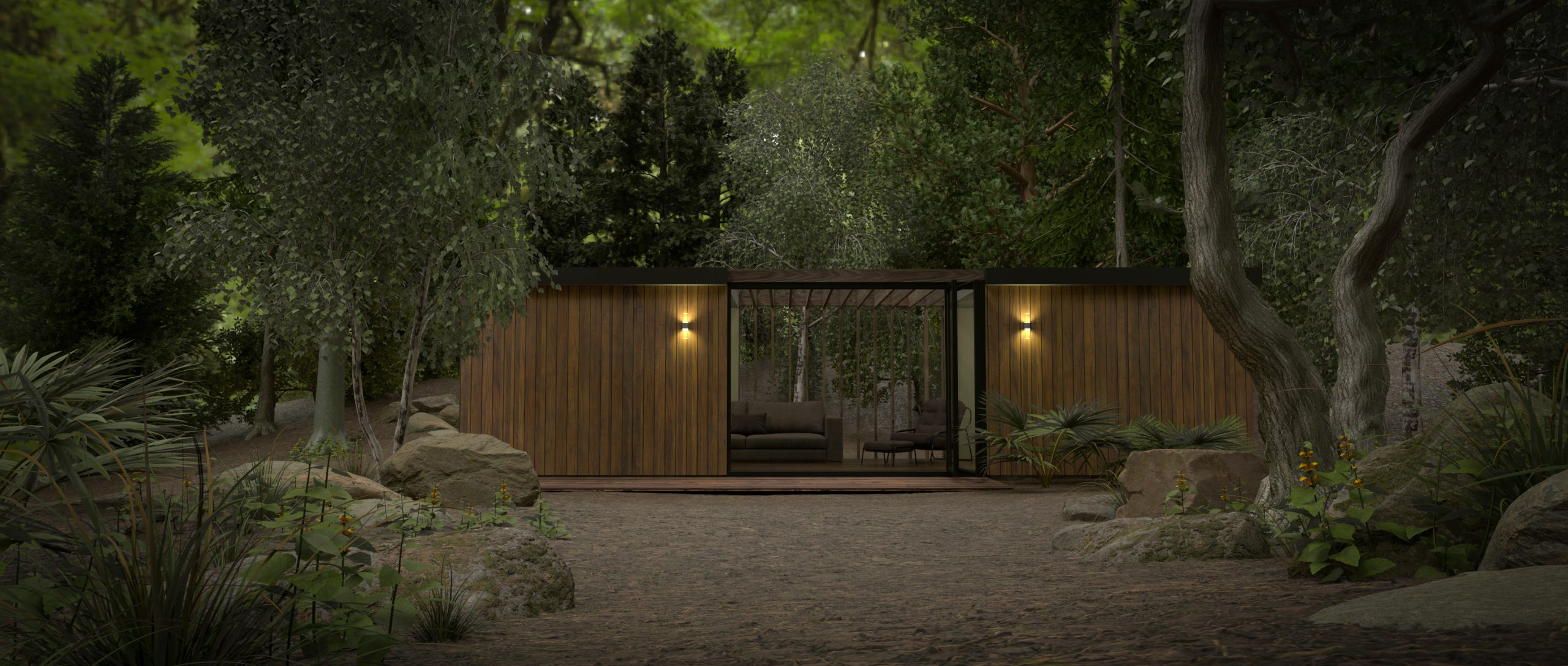 3D render of a woodland studio