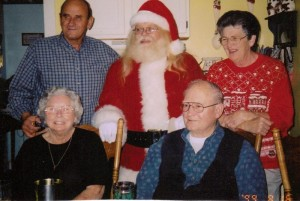 Mom, Dad, Aunt Doris, Uncle BT and Santa