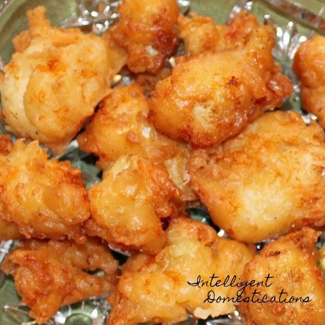 Easy recipe for pan fried cheesy cauliflower bites. #cauliflower