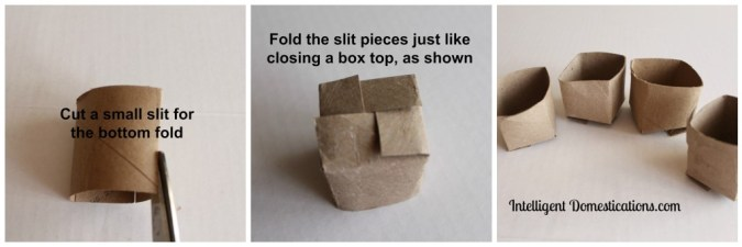 Faux toilet paper roll peat pot bottom fold. Finished. Intelligentdomestications.com